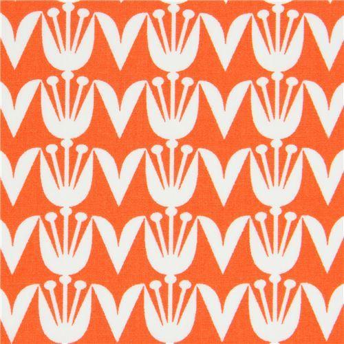orange fabric with tulip flower by Art Gallery Fabrics