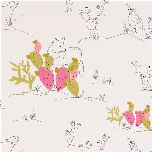 cream fabric with coyote bird animal cactus by Art Gallery Fabrics