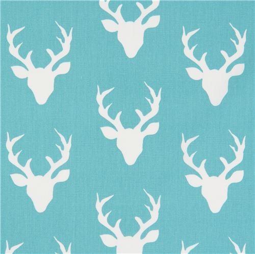 turquoise fabric with deer stag animal by Art Gallery Fabrics