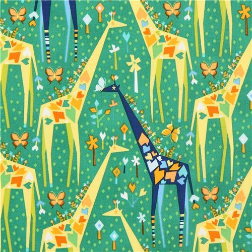 green Origami giraffe animal fabric Michael Miller Stand Tall