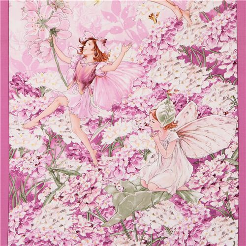 pink Petal Fairies Panel fairy tale fabric Michael Miller