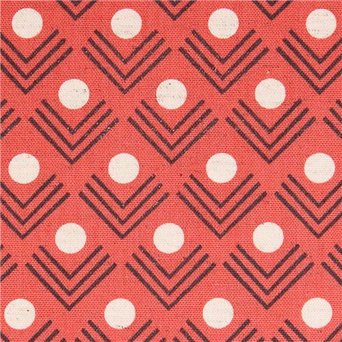 coral red corners angle geo Canvas fabric Framework Kokka
