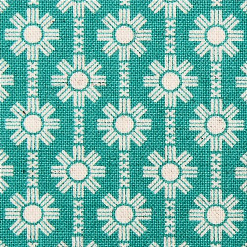 teal Daisy Chain flower Canvas fabric Framework Kokka