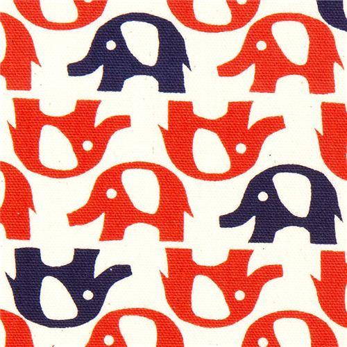 cute red elephants fabric by Kokka from Japan