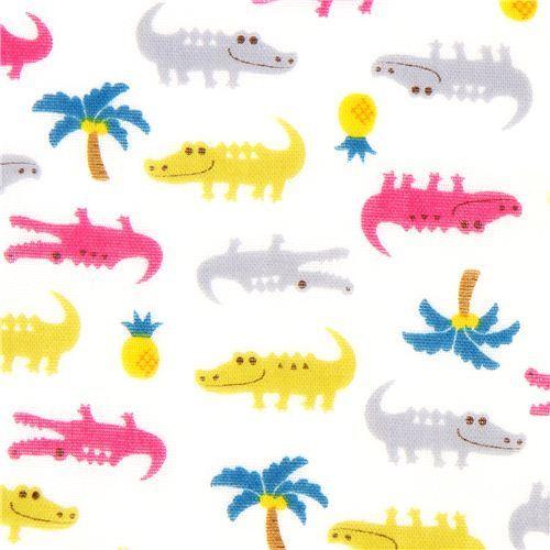 double gauze fabric little crocodiles from Japan