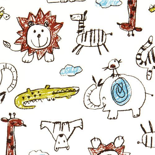 funny animal fabric crocodile elephant lion by Kokka
