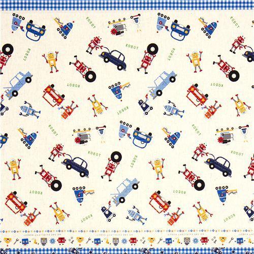 funny canvas fabric for boys robot car by Kokka