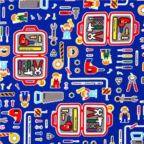 funny toolbox children fabric for boys from Japan