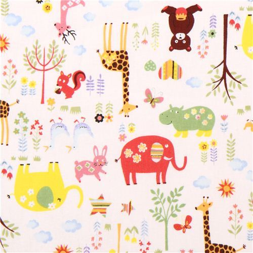 cute white animals in the forest Kokka animal fabric Japan