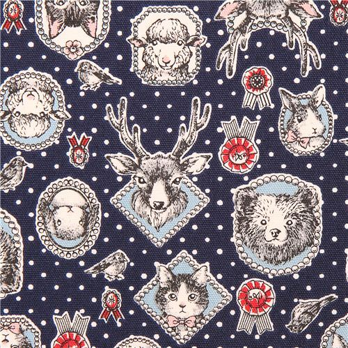 dark blue animal frame oxford fabric Kokka cat bear stag