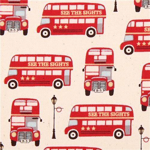 natural-colored travel London bus oxford fabric Kokka