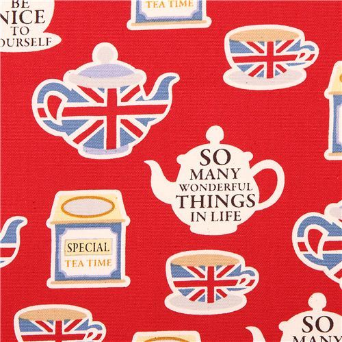 red England Tea Time London teapot oxford fabric Kokka