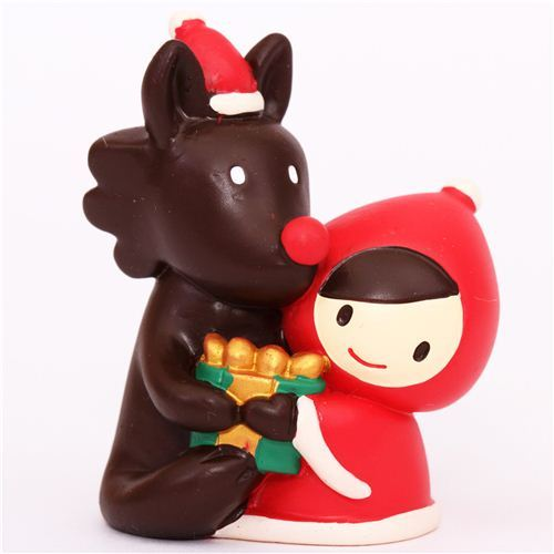 Little Red Riding Hood wolf present Christmas figurine Japan
