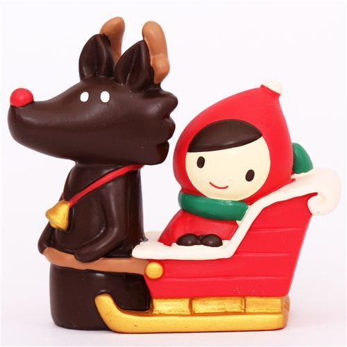 Little Red Riding Hood wolf sleigh Christmas figurine Japan