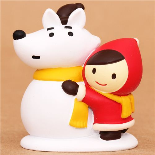Little Red Riding Hood wolf snowman Christmas figurine Japan