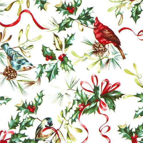 Mistletoe and bird Christmas fabric by Michael Miller