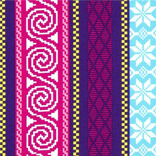 purple Michael Miller fabric with nordic patterns & stripes