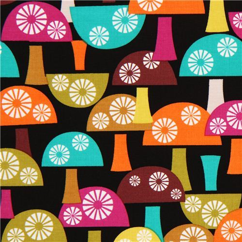 black mushroom fabric Michael Miller from the USA