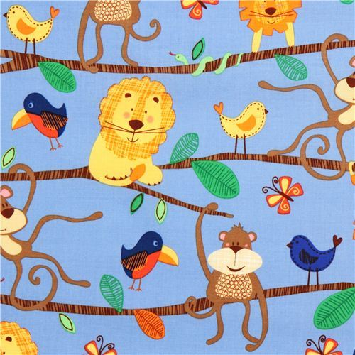 blue Michael Miller animal fabric jungle lion