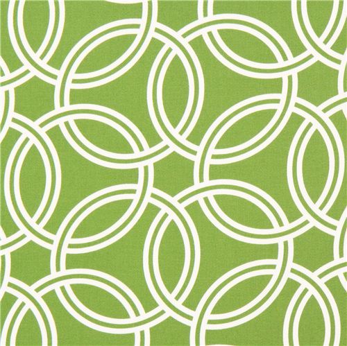 grass green ring pattern cotton sateen fabric Michael Miller