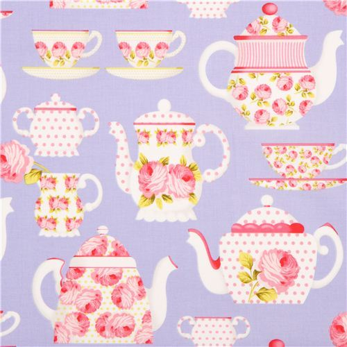 purple Michael Miller fabric tea pot cup rose