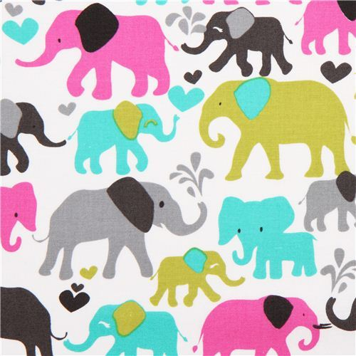 white elephant fabric by Michael Miller from the USA pink