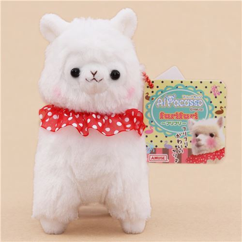cute white alpaca red collar plush toy from Japan