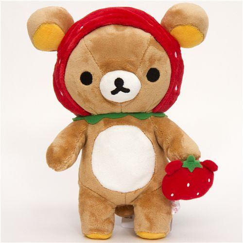Rilakkuma plush toy brown bear as strawberry
