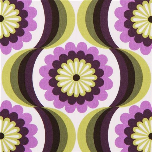 retro flower canvas fabric purple Robert Kaufman