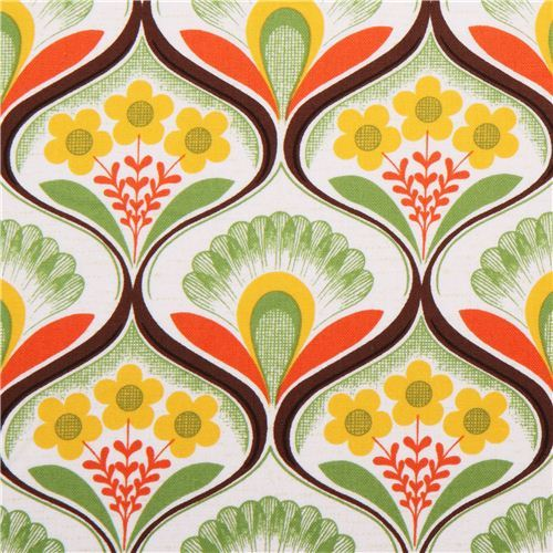 retro flower wallpaper canvas fabric green Robert Kaufman