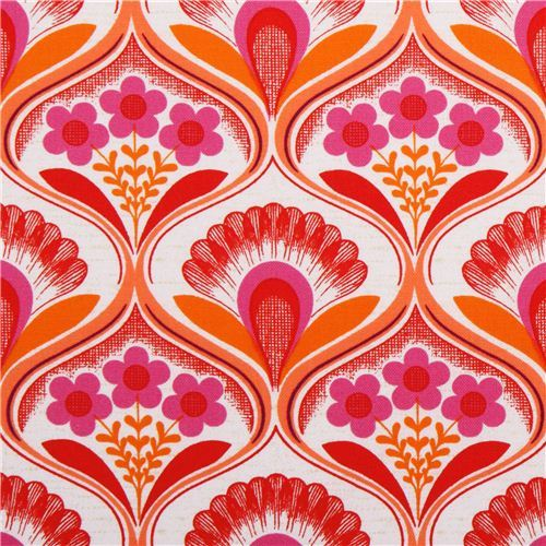 retro flower wallpaper canvas fabric pink Robert Kaufman