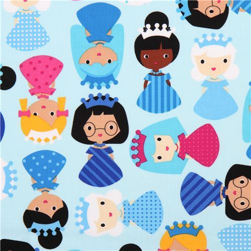 light blue girl princess fabric Frost by Robert Kaufman USA