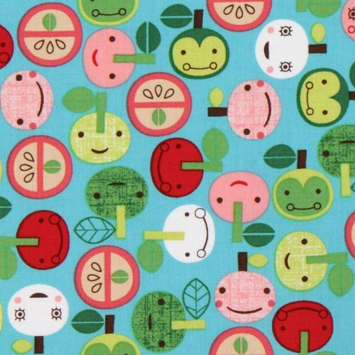 blue kawaii apple fabric with faces Robert Kaufman