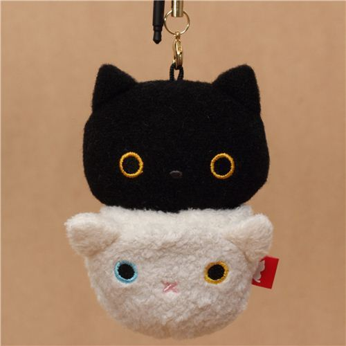 black Kutusita Nyanko cat with white cat sack plush charm
