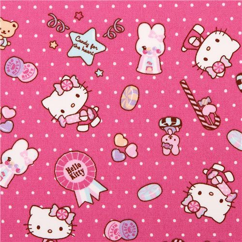pink dotted Hello Kitty oxford fabric candy by Sanrio from Japan