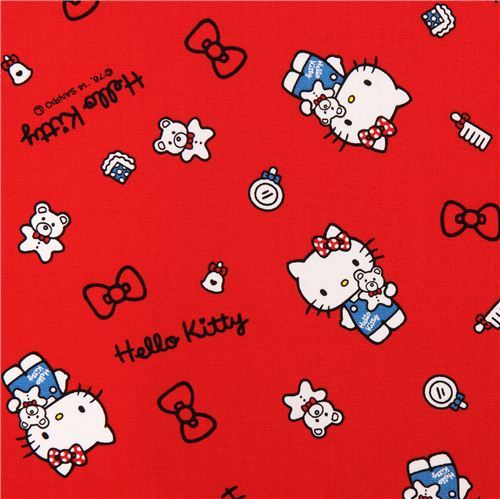 red Hello Kitty oxford fabric teddy bow comb by Sanrio from Japan
