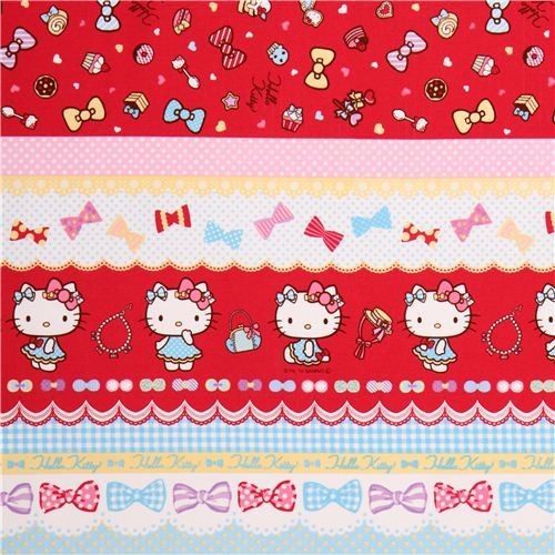 Hello Kitty stripes ribbon jewelry oxford fabric by Sanrio from Japan
