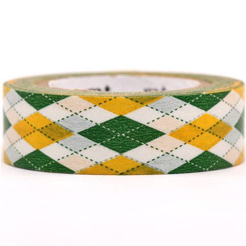 green and yellow Argyle mt Washi Masking Tape deco tape with diamonds