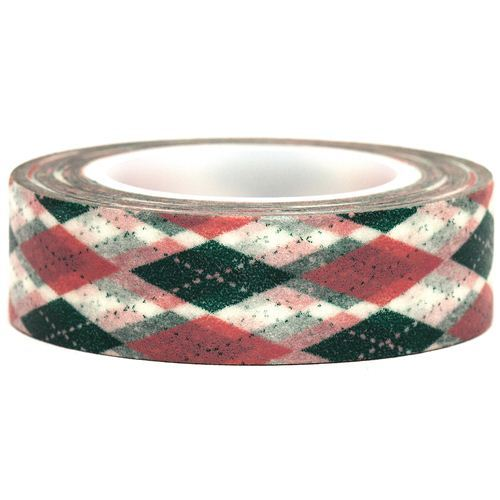 white Washi Masking Tape deco tape checkered rhombus