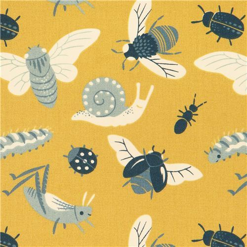 Bugs Gold insect bug animal birch organic fabric from the USA