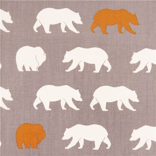 grey bear Bear Hike Shroom poplin organic fabric birch USA