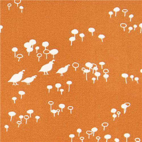 orange Quail and Poppy bird flower poplin organic fabric birch USA