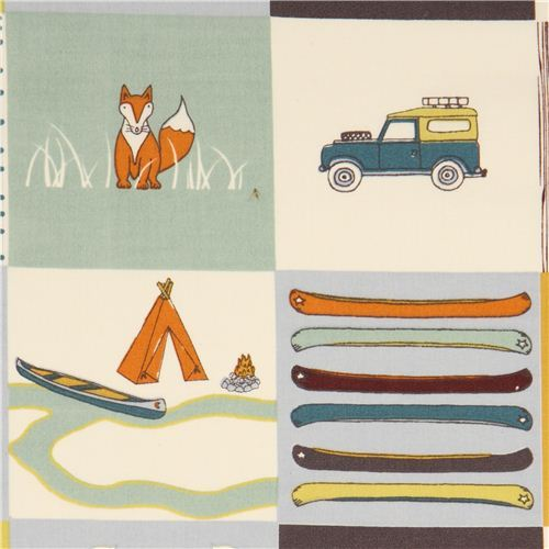 camping patchwork organic fabric with fox bear by birch USA