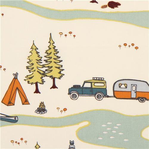 cream forest camping organic fabric by birch from the USA