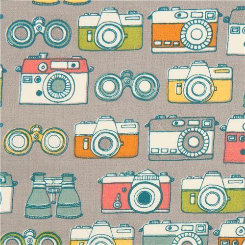 grey camera and binoculars organic fabric by birch USA