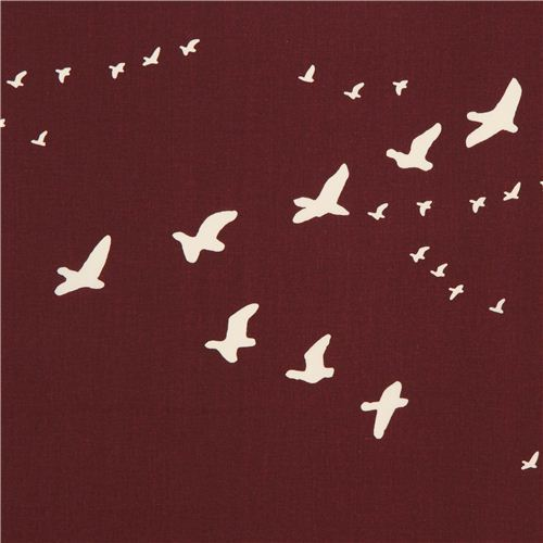 red brown bird organic fabric by birch from the USA