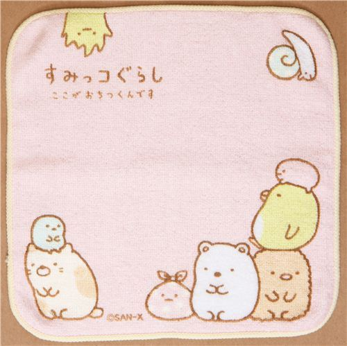 light pink Sumikkogurashi towel bear cat penguin snail