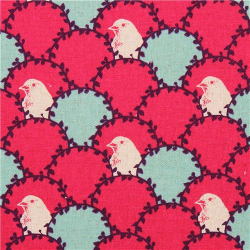 hot pink echino arc canvas fabric bird wave fish scale