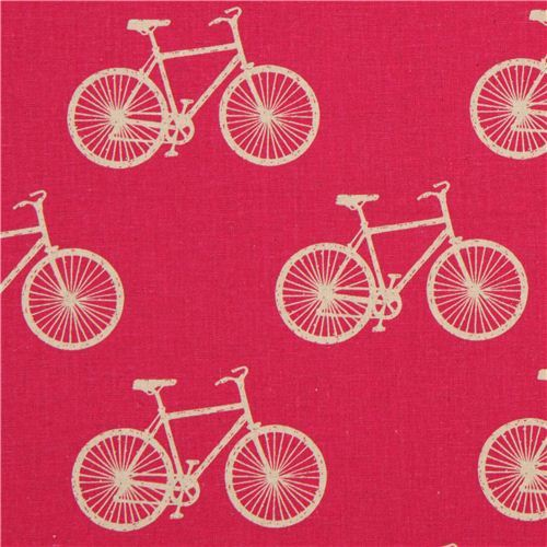 pink echino bike poplin fabric cycling