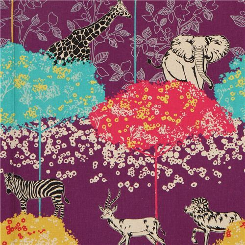 purple echino canvas safari animals fabric acacia